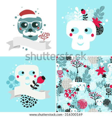 winter skulls illustrations set