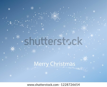 Winter sky with falling snow. Falling snow, snowflake on a blue sky. Holiday Winter background for Merry Christmas and Happy New Year. Falling snow background. Snowfall background. Vector.