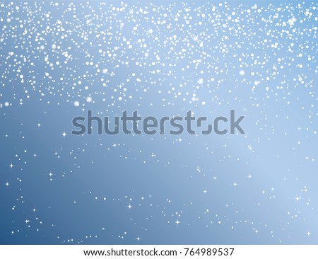 Winter sky with falling snow. Holiday Winter background for Merry Christmas and Happy New Year. Falling snow background. Snowfall background. Vector illustration