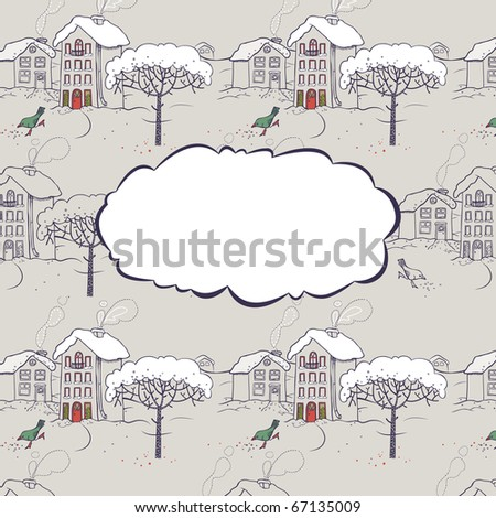 Winter snow-covered village with a bird and a tree. Seamless pattern and greeting card