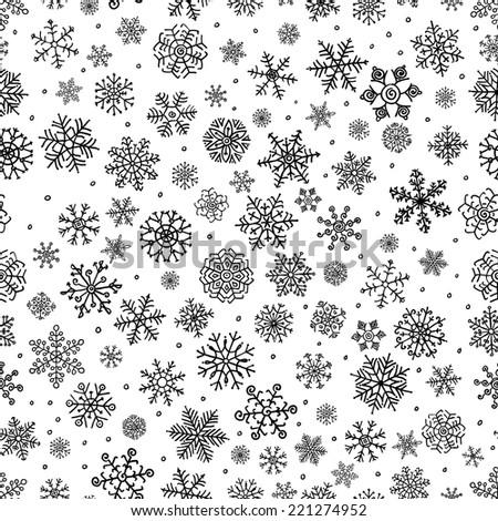 winter snow flakes doodles