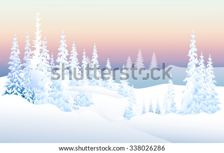 winter snow land sunset   vector