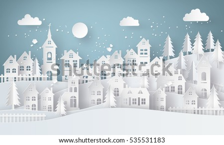 Winter Snow Urban Countryside Landscape City Village with full moon,paper art and craft style.