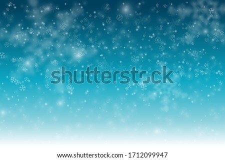 Winter Snowfall and snowflakes turquoise blue background. Cold winter Christmas and New Year background. Vector illustration.