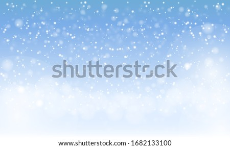 Winter snowfall on light blue background. Cold winter Christmas and New Year background. Vector illustration
