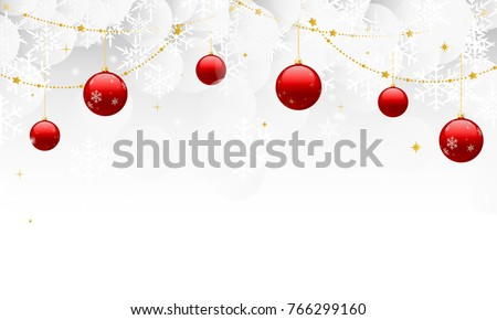 Winter snowflake background vector illustration, Hanging red Christmas balls ornaments with copy space #766299160