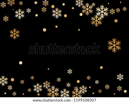Winter snowflakes and circles border vector backdrop. Unusual gradient snow flakes isolated flyer background. New Year 2019 card border pattern template with flying snowflake shapes isolated.