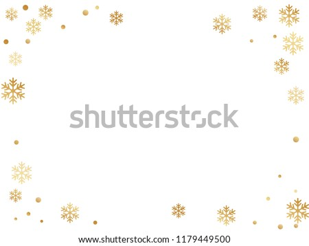 Winter snowflakes and circles border vector illustration. Unusual gradient snow flakes isolated poster background. New Year card border holiday pattern with simple snowflake shapes isolated.