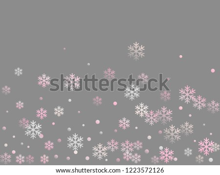 Winter snowflakes and circles border vector illustration. Unusual gradient snow flakes isolated card background. New Year card border holiday pattern with cool snowflake elements isolated.