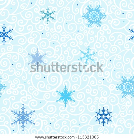 Winter snowflakes background. New Year Vector pattern.