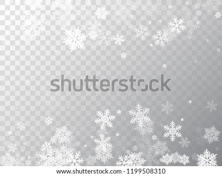 Winter snowflakes border trendy vector background.  Macro snowflakes flying border illustration, card or banner with flakes confetti scatter frame, snow elements. Freezing cold symbols.