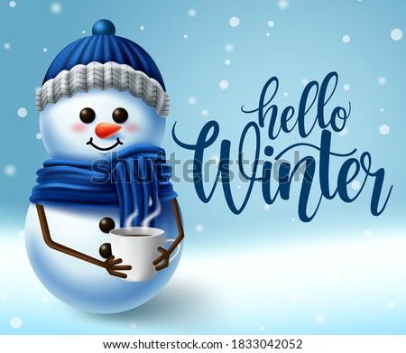winter snowman character vector
