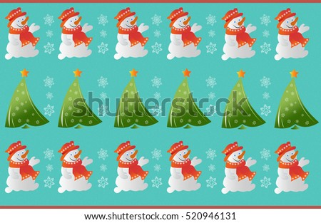 Winter snowman ornament pattern Vector. Christmas tree and snowflakes decorations background