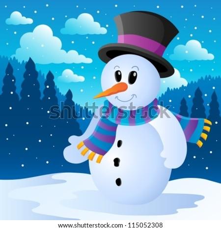 Winter snowman theme image 2 - vector illustration.
