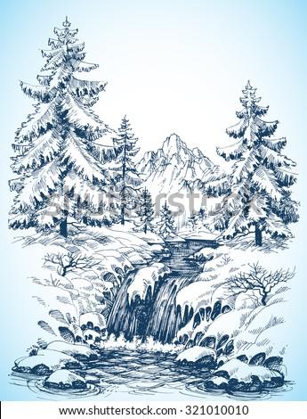 winter snowy landscape  pine