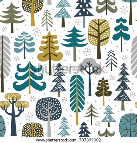 winter snowy woods seamless...