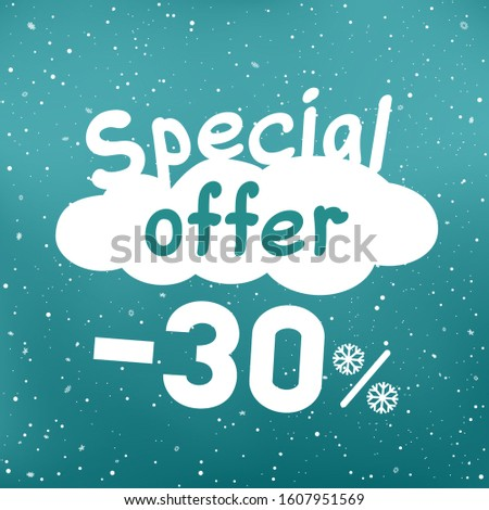 Winter special sale offer text on white cartoon cloud with discount and snow falling. Seasonal discounts sticker