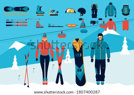 Winter sport accessory. Skiing, snowboarding snow activity vector sport accessory set on mountain ropeway illustration. Winter clothes, helmet, goggles, mittens, sticks, ski, snowboard for man woman