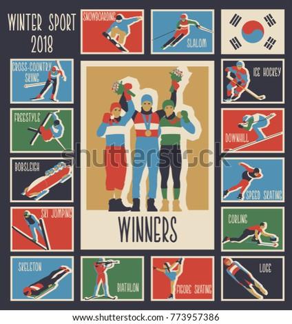 Winter Sport Games 2018 Vector Logos, Icons