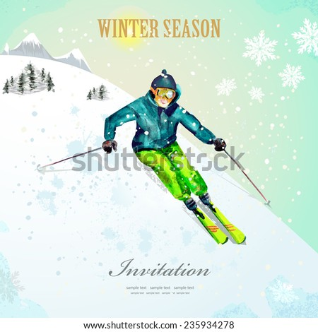 Winter sport. girl skiing at ski resort. watercolor. vintage poster for your design.