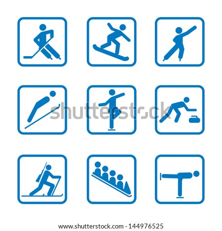 Winter sport icon Set. Winter Olympic club signs, fitness exercises