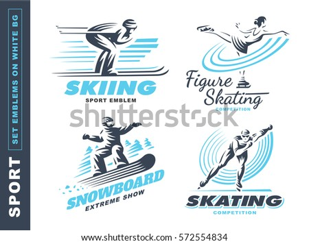 winter sport logo set   vector