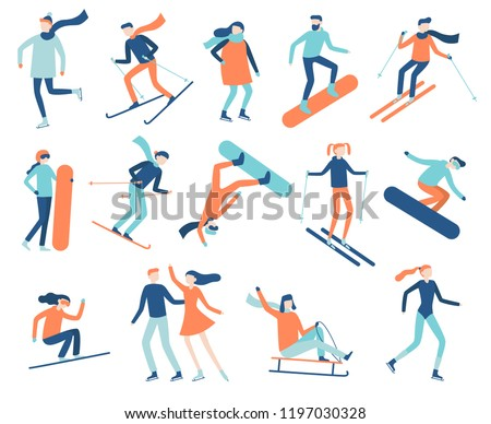 Winter sport people. Sportsman on snowboard, skis or ice skates. Snowboarding, skiing and skating sports. Snowboarder jump, healthy family holiday vacation isolated flat vector isolated icon set