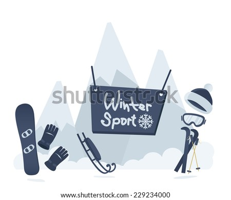 Winter sport poster design in a cool blue with snow-capped mountain peaks and snowboarding and skiing equipment and accessories, vector illustration
