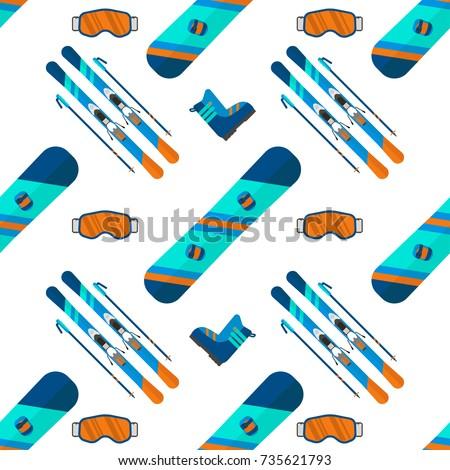 winter sport seamless pattern