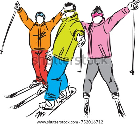 winter sport snowboard and ski vector illustration
