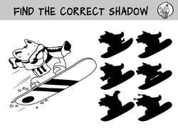 Winter sport. Snowboarder cat jumping. Find the correct shadow. Educational matching game for children. Black and white cartoon vector illustration