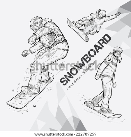 winter sport, snowboarding collection. Hand drawing.
