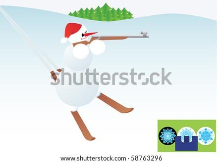 Winter sport. Snowman skiing rifle.