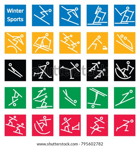 Winter Sport Stick Figures (eps10);