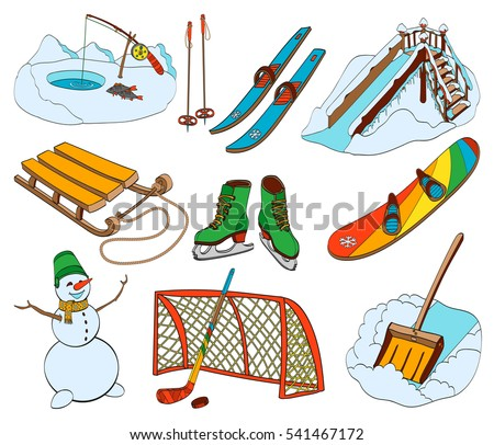 Winter sports and recreation equipment set isolated on white background. Christmas outdoor collection of sled, ski. Hand drawn vector illustration in cartoon style