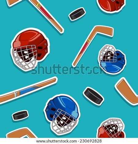 Winter sports background. Hockey seamless pattern. Eps 10 vector illustration.
