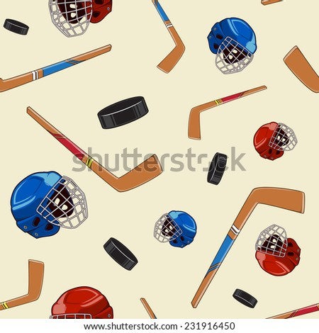 Winter sports background. Hockey seamless pattern. Eps 10 vector illustration.