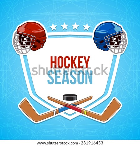 Winter sports background. Hockey season. Sticker design elements. Eps 10 vector illustration.