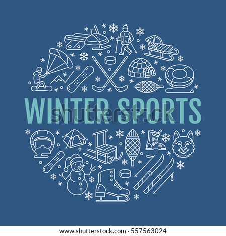 winter sports banner  equipment