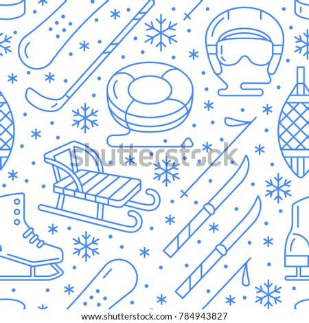Winter sports blue seamless pattern, equipment rental at ski resort. Vector flat line icons - skates, hockey sticks, sleds, snowboard, snow tubing. Cold season outdoor activities, snowflakes.