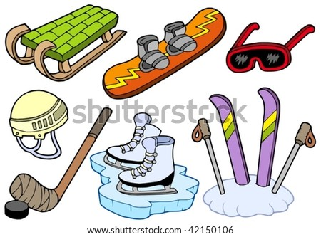 Winter sports collection - vector illustration.