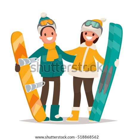 winter sports couple man and