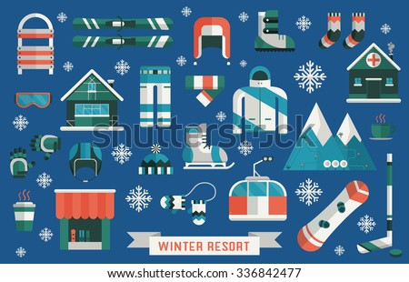 Winter sports gear pictogram collection. Winter resort icon set. Outdoor winter activity lifestyle concept icons. Snowboard sportswear, ski equipment and elements. Winter sports pictogram