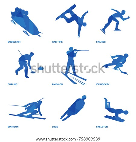 winter sports icon set nine