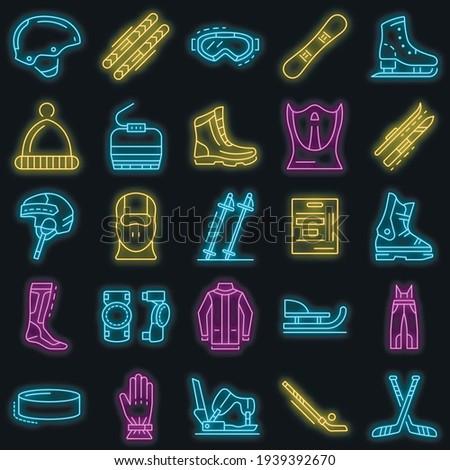 winter sports icon set outline