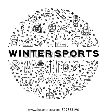 Winter sports icons. Collage of sports symbols in a circle. Trendy infographics for a sporting event, contest, sport shop, sale tag, marketing. Black thin line icons set, Vector illustration