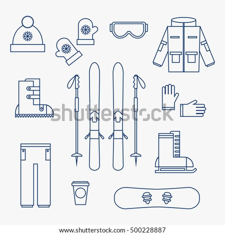 Winter sports icons on white background. Skiing and hiking isolated icons collection. Sports equipment. Flat line vector illustration design.