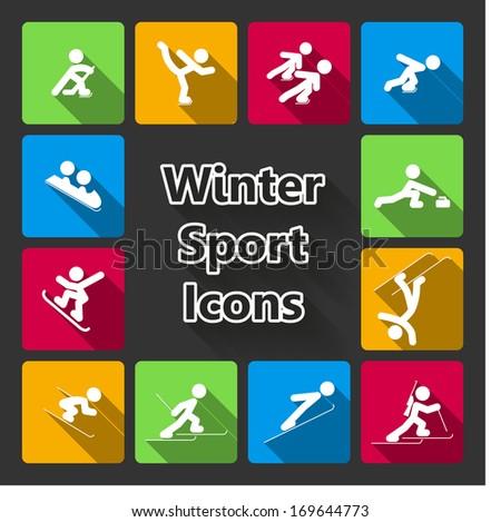 Winter sports icons set of ski skating hockey curling isolated vector illustration