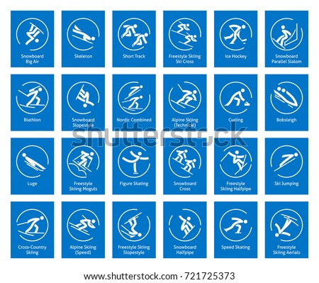 winter sports icons set  vector