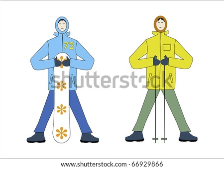 winter sports illustration skiing and snowboarding